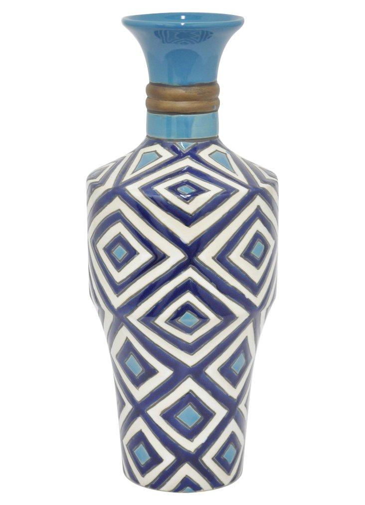 """16"""" Camille Vase, Blue"""