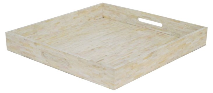 "18"" Wood Tiled Tray, Cream"