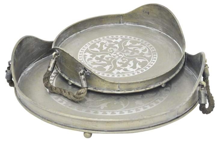 Asst. of 2 Floral Print Trays, Silver