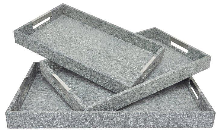 Asst. of 3 Rectangle Prescot Trays, Gray