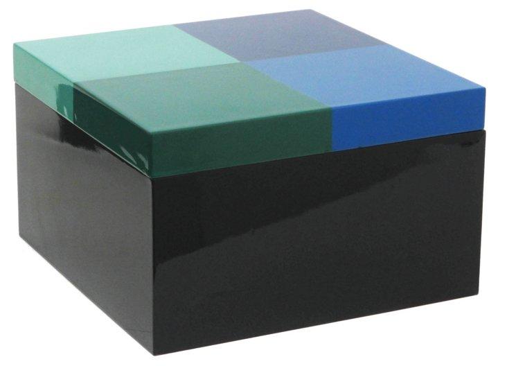 "10"" Wood Box, Blue/Green"