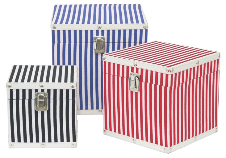 Asst. of 3 Square Striped Wood Boxes