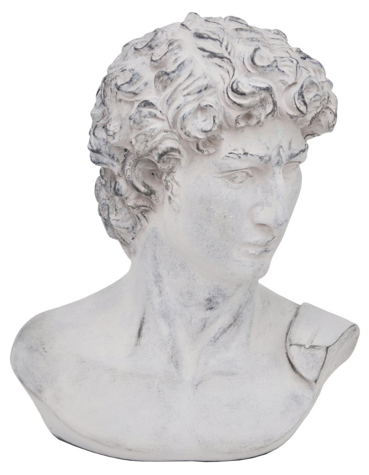 """10"""" Classical Male Bust, Gray"""
