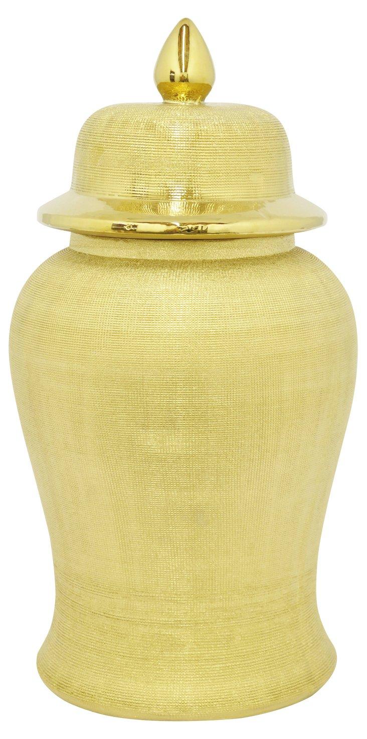 "22"" Beaded Ceramic Urn, Gold"