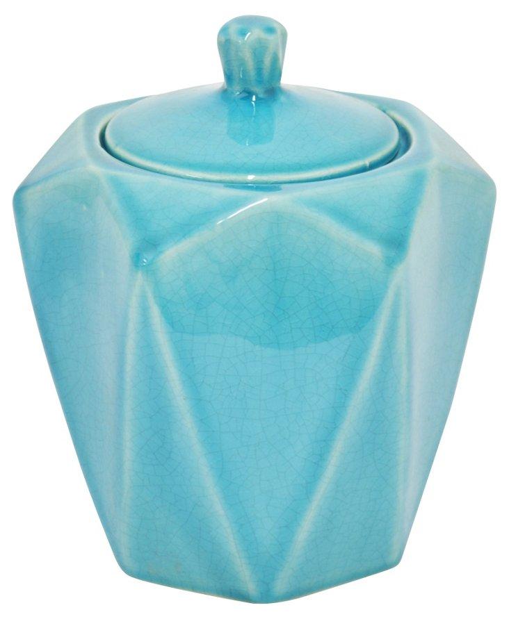 """7"""" Faceted Ceramic Jar, Turquoise"""