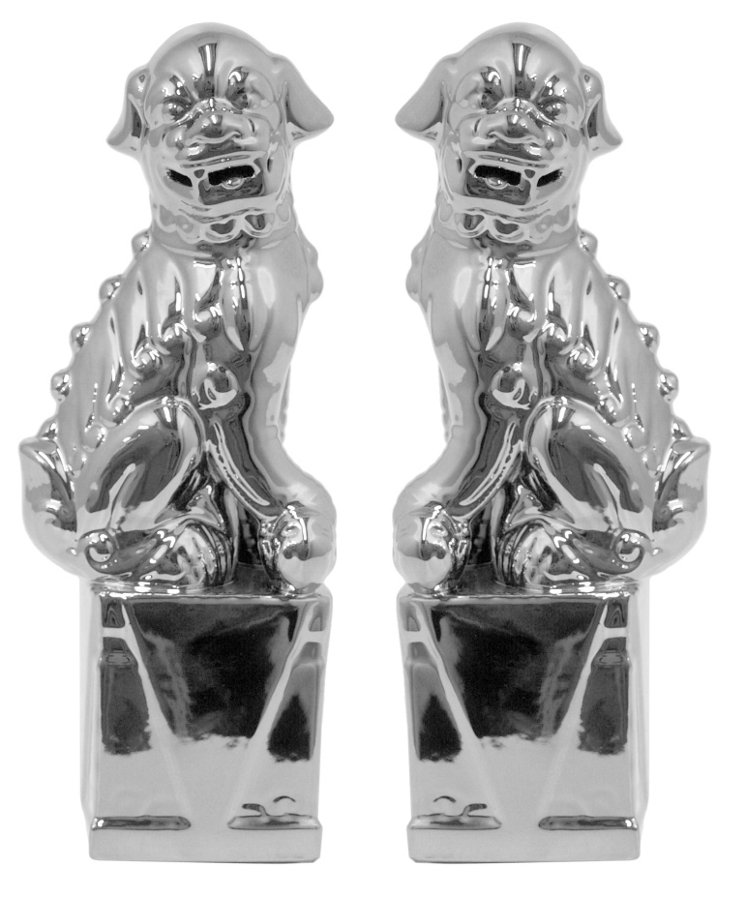 Asst. of 2 Foo Dog Figurines, Silver