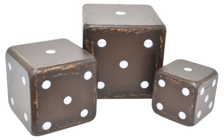 Asst. of 3 Wood Dice Boxes, Brown