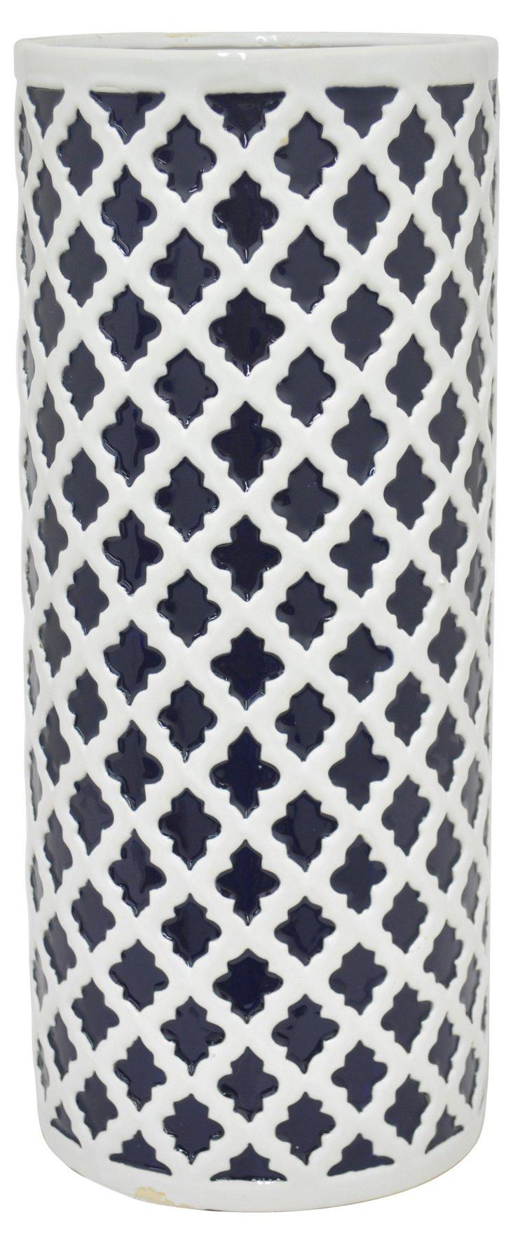 "16"" Adalie Ceramic Vase, Navy/White"