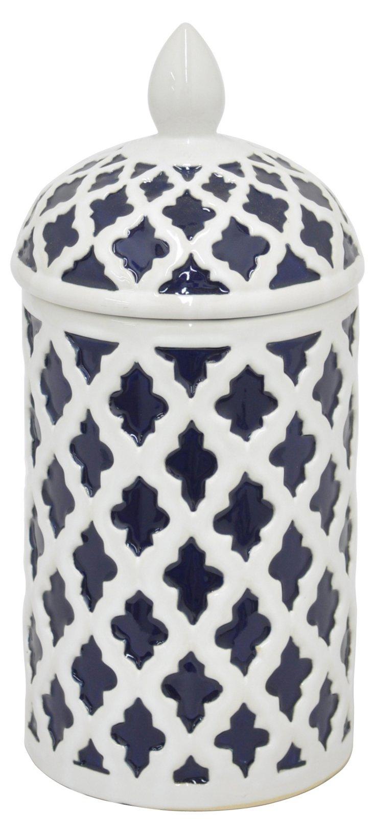 """12"""" Adalie Ceramic Jar, Navy/White"""