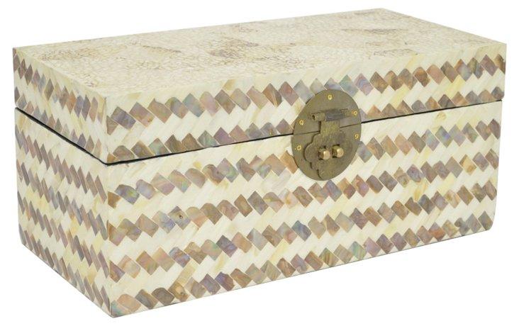 "15"" Tiled Wood Box, Tan"