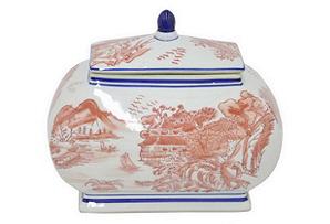 """9"""" Toile Ceramic Jar w/ Lid, Coral"""