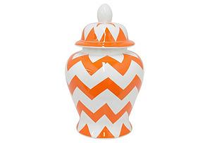 "18"" Chevron Temple Jar, Orange/White"
