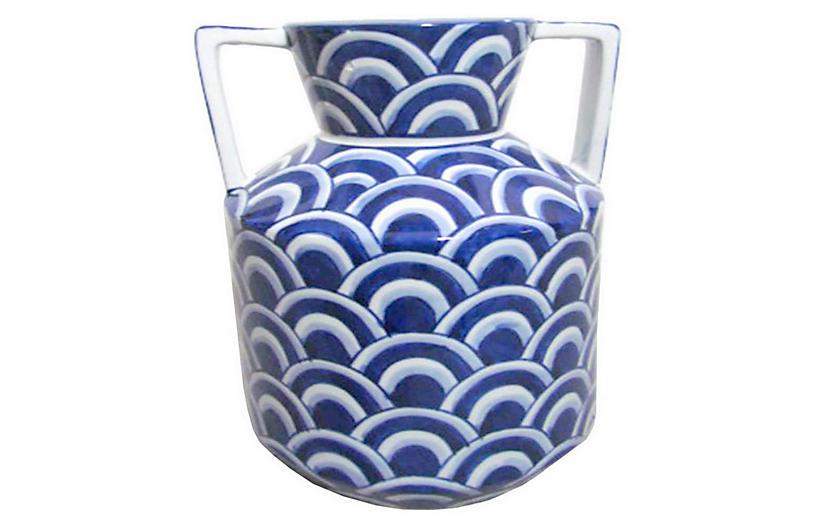 Scale Vase, Blue/White