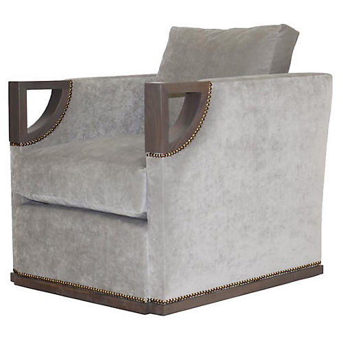 Bevin Club Chair, Gray Velvet