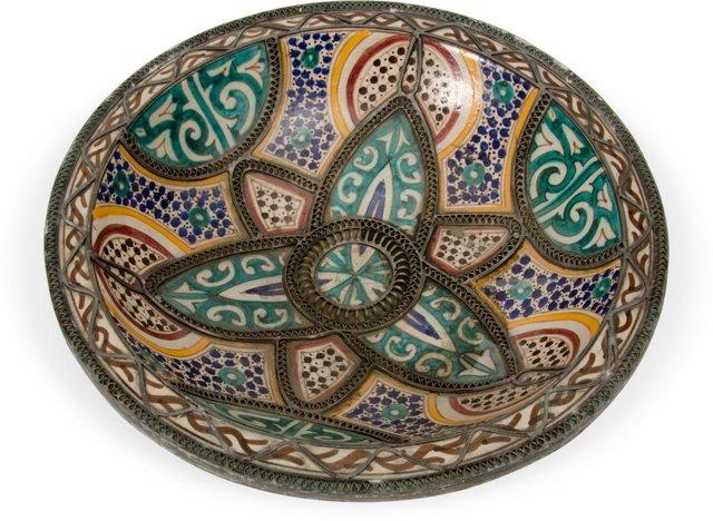 Ceramic Bowl w/Brass Metalwork