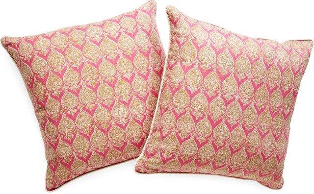 Custom Indienne Pillows, Pair
