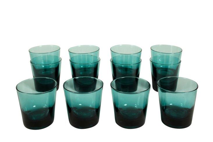 Teal Glasses, Set of 12