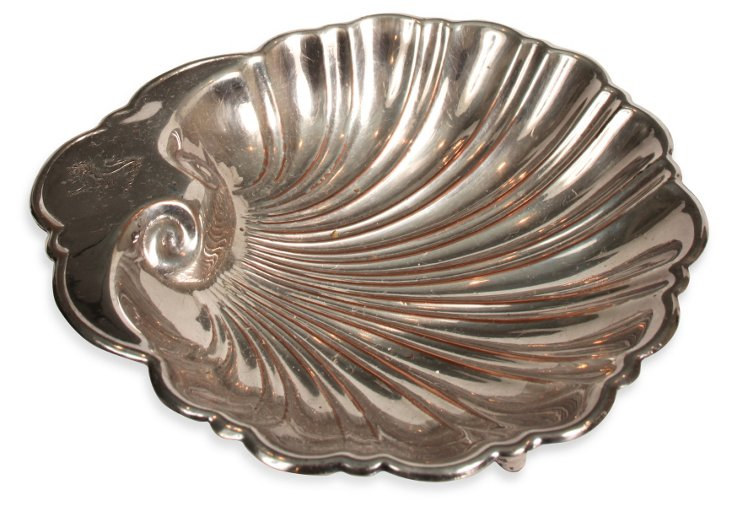 Footed Silverplate Shell Dish