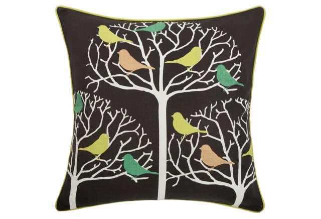 Tweeter 22x22 Pillow, Brown