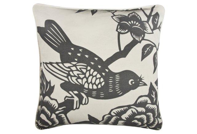 Perch 18x18 Cotton Pillow, Charcoal