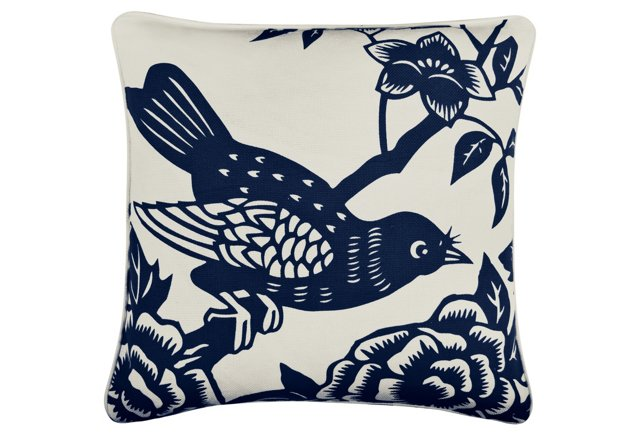 Perch 18x18 Cotton Pillow, Indigo