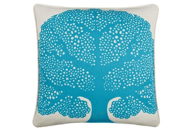 Arbor 18x18 Cotton Pillow, Aqua