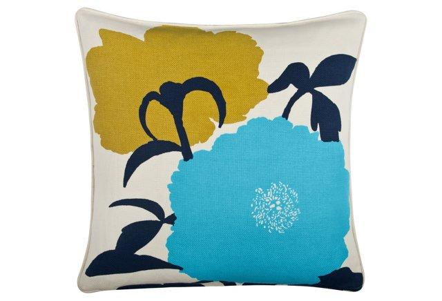 Peony 18x18 Pillow, Indigo