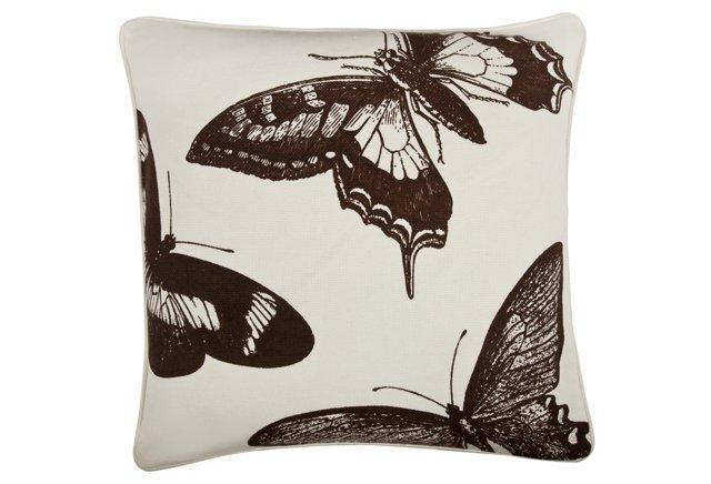 Flutter 18x18 Cotton Pillow, Brown