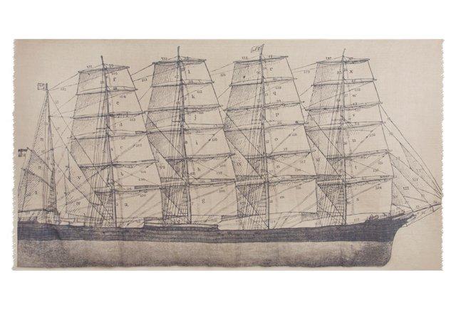 Tall Ship Linen Shawl