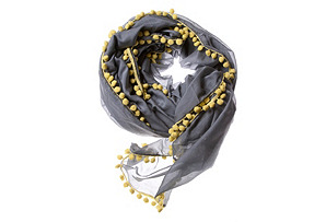 Pom Pom Solid Scarf, Gray & Yellow