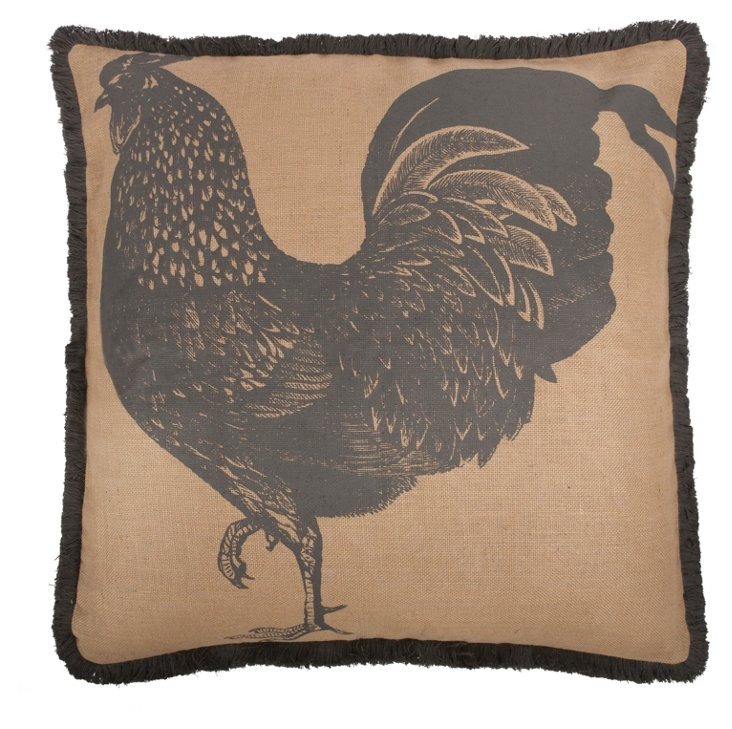 Rooster 26x26 Jute Pillow, Charcoal