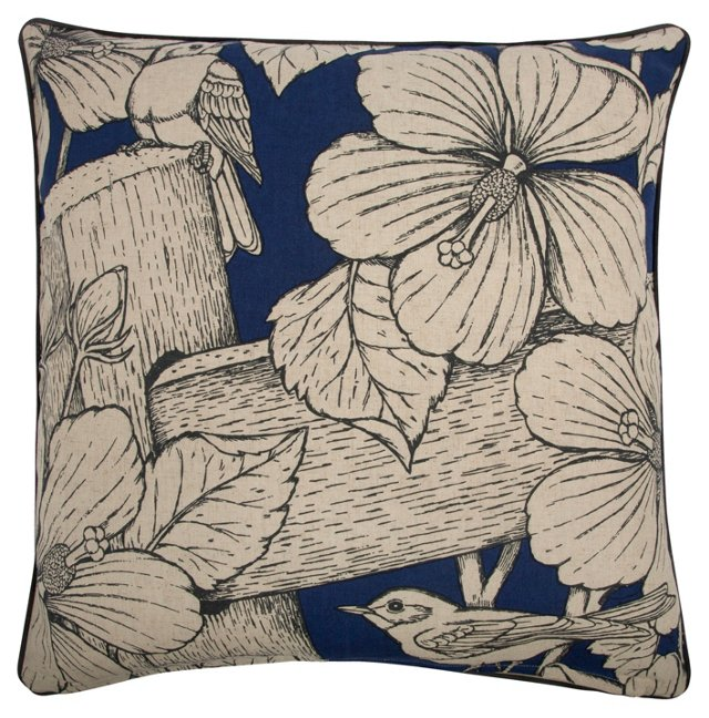 Hibiscus 22x22 Pillow, Indigo
