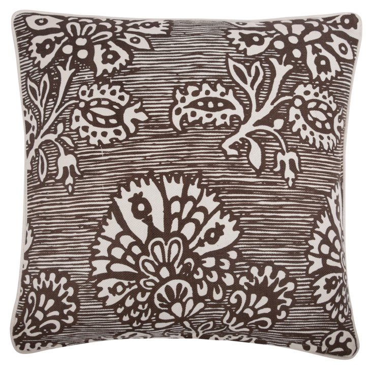 Bloom 18x18 Cotton-Blend Pillow, Brown