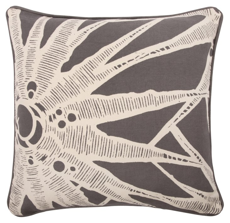 Burst 18x18 Pillow, Charcoal