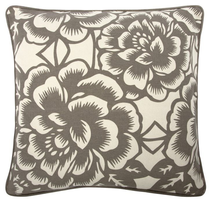 Bloom 18x18 Pillow, Gray