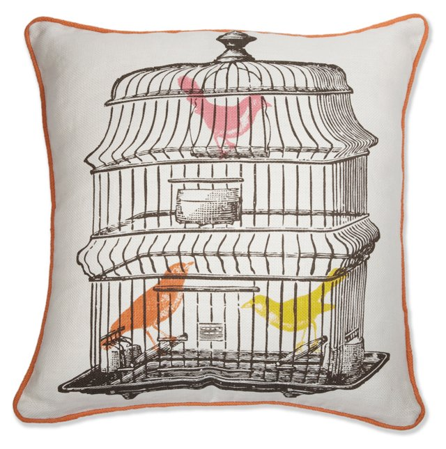 The Birdcage 18x18 Pillow, Multi