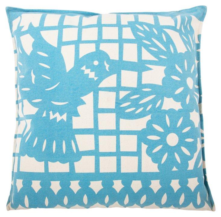 Hummingbird 22x22 Pillow, Blue