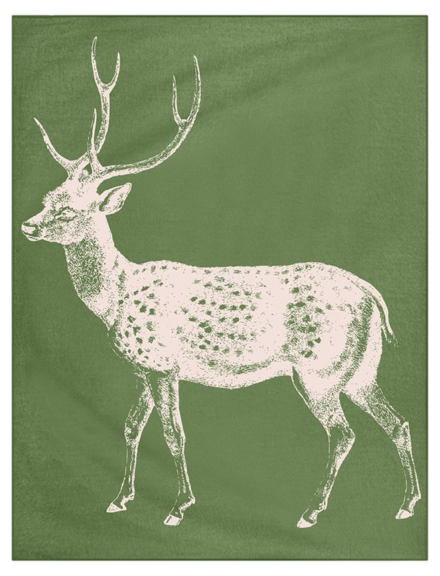 Deer Alpaca Throw, Leaf