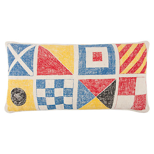 Flags/Knots Sketch 18x34 Pillow, Multi
