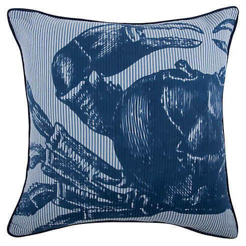 Crab Seersucker 18x18 Pillow, Blue