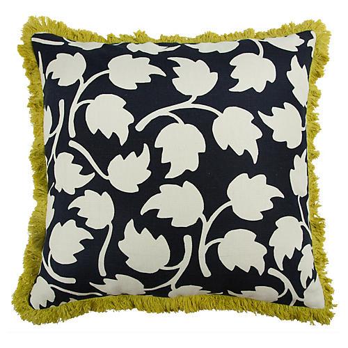 Vines 22x22 Pillow, Black