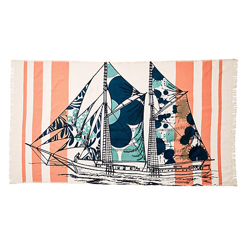 Dazzle Ship Banya Bath Towel, Orange/Aqua