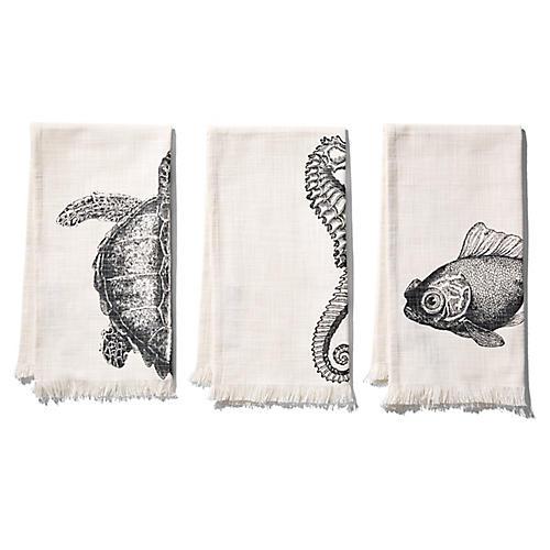 S/3 Sealife Hand Towels, Charcoal