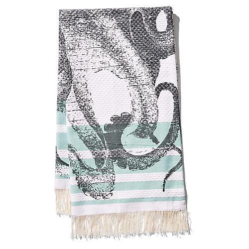 Pulpo Banya Hand Towel, Aqua/Black