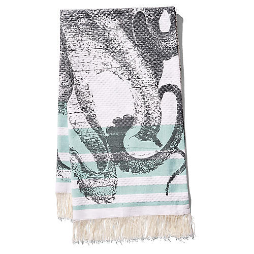 Pulpo Banya Hand Towel, Aqua/Black