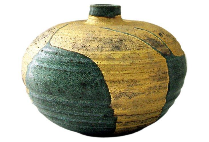 Wheel-thrown Desert Wide Vase, Gold