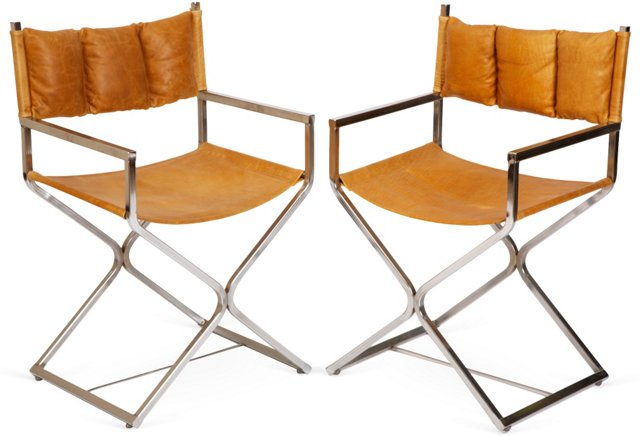 Distressed Leather Director Chairs, Pair