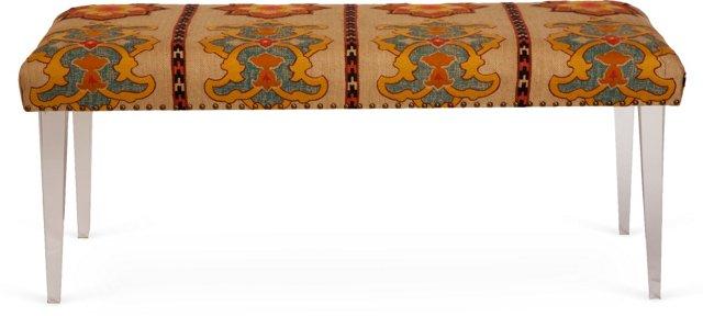 Schumacher Temara Fabric & Lucite Bench