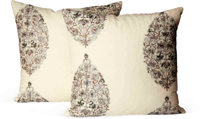 Sprouting Vine Paisley Pillows, Pair I