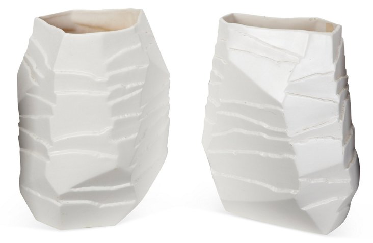 White Tiered Pottery, Pair